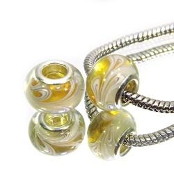 Намистини Пандора, лемпворк, 14х10 мм, жовті напівпрозорі з білим малюнком