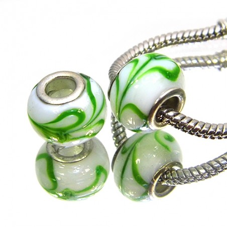 Бусины Пандора, лэмпворк, 14х10 мм, белые с зеленым рисунком