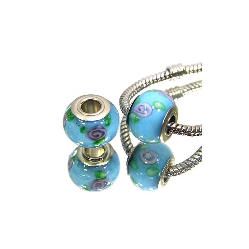 Намистини Пандора, лемпворк, 14х10 мм, блакитні з бузковими квітами