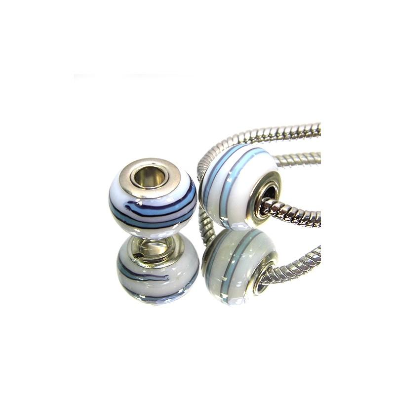 Намистини Пандора, лемпворк, 14х10 мм, білі з блакитними смужками