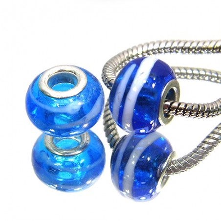 Бусины Пандора, лэмпворк, 14х10 мм, синие с белыми полосками