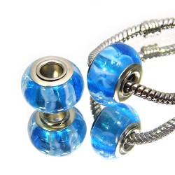 Бусины Пандора, лэмпворк, 14х10 мм, синие с поперечными полосами