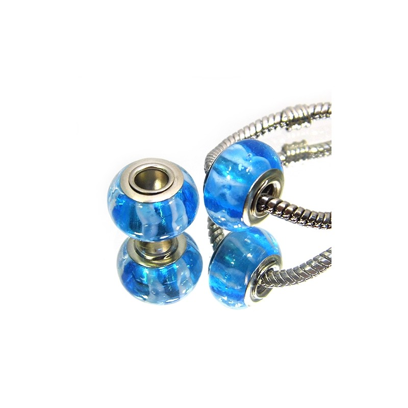 Намистини Пандора, лемпворк, 14х10 мм, сині з поперечними смужками