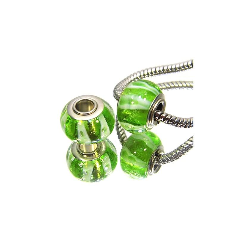 Намистини Пандора, лемпворк, 14х10 мм, зелені з поперечними смужками