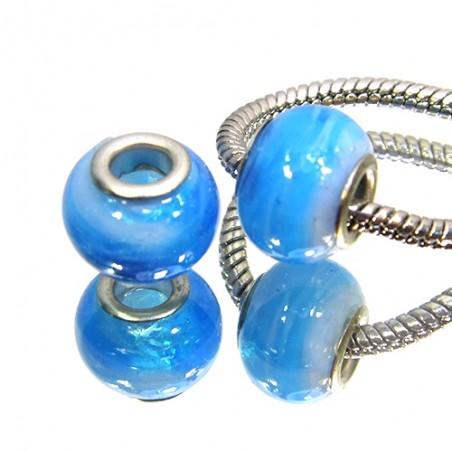 Намистини Пандора, лемпворк, 14х10 мм, сині з білими розводами