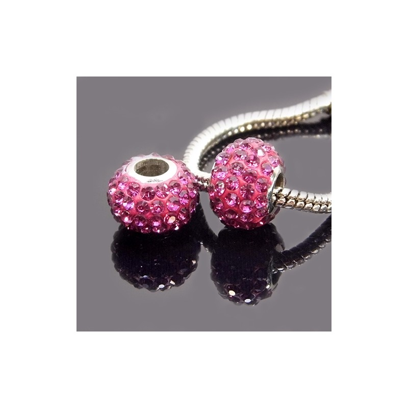 Намистини Пандора, в стразах, 9х13 мм, яскраво рожеві