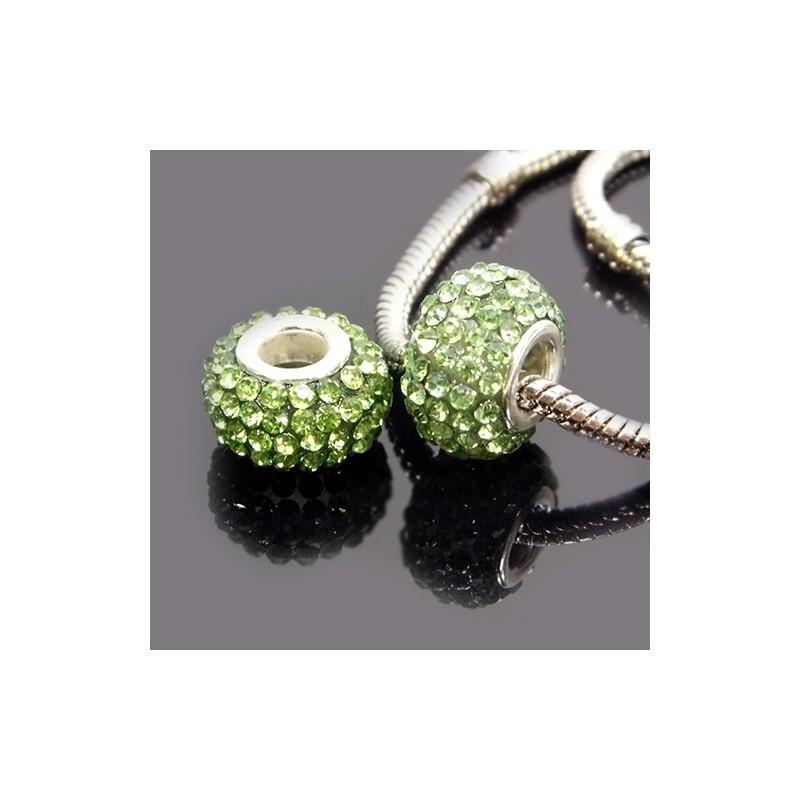 Бусины Пандора, в стразах, 10х15 мм, зеленые