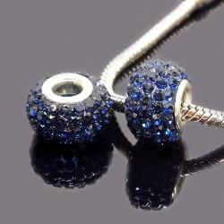 Бусины Пандора, в стразах, 10х15 мм, темно синие