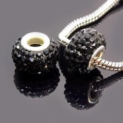 Бусины Пандора, в стразах, 10х15 мм, черные