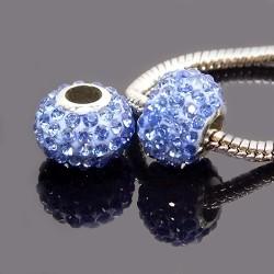 Намистини Пандора, в стразах, 9х13 мм, світло-сині