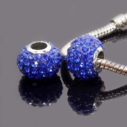 Бусины Пандора, в стразах, 9х13 мм, синие