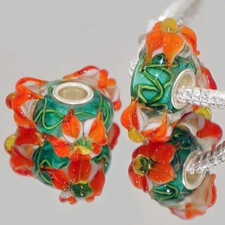 """Намистини Пандора """"Преміум"""", лемпворк, 18х8 мм, зелені з об'ємними помаранчевими квітами"""