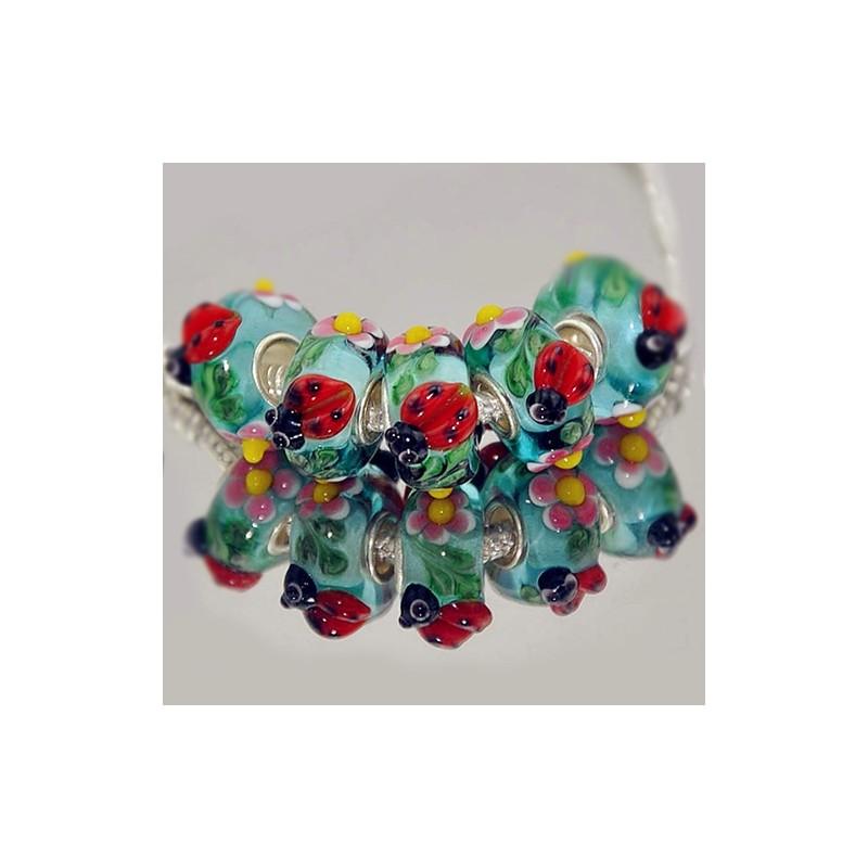 """Намистини Пандора """"Преміум"""", лемпворк, 15х8 мм, бірюзові з об'ємними рожевими квітами і сонечками"""