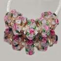 """Бусины Пандора """"Премиум"""", лэмпворк, 15х8 мм, прозрачные с объемными розовыми цветами"""