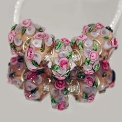 """Бусины """"Премиум"""", лэмпворк, 15х8 мм, прозрачные с объемными розовыми цветами"""
