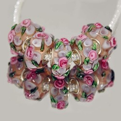 """Намистини """"Преміум"""", лемпворк, 15х8 мм, прозорі з об'ємними рожевими квітами"""