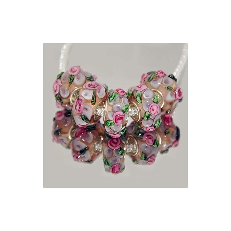 """Намистини Пандора """"Преміум"""", лемпворк, 15х8 мм, прозорі з об'ємними рожевими квітами"""