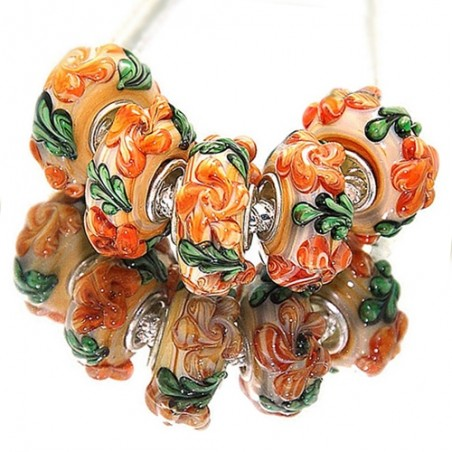 """Намистини Пандора """"Преміум"""", лемпворк, 15х8 мм, помаранчеві з об'ємними квітами"""