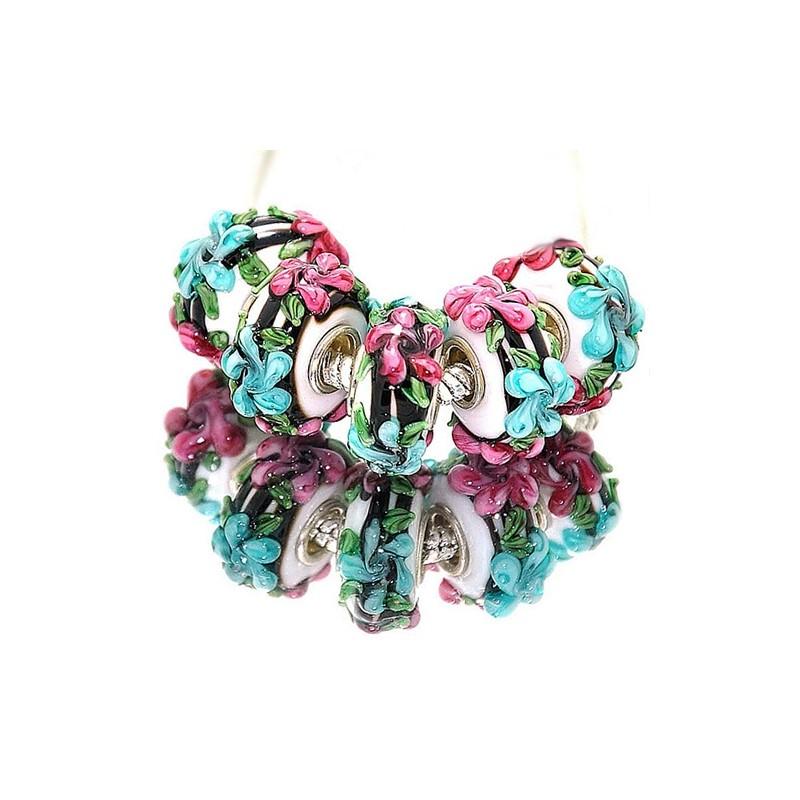 """Намистини Пандора """"Преміум"""", лемпворк, 15х8 мм, білі з об'ємними блакитними і рожевими квітами"""
