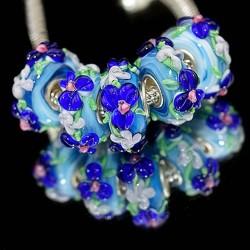 """Бусины """"Премиум"""", лэмпворк, 15х8 мм, голубые с объемными синими цветами"""