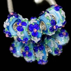 """Намистини Пандора """"Преміум"""", лемпворк, 15х8 мм, блакитні з об'ємними синіми кольорами"""