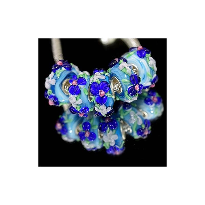 """Бусины Пандора """"Премиум"""", лэмпворк, 15х8 мм, голубые с объемными синими цветами"""