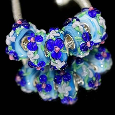 """Намистини """"Преміум"""", лемпворк, 15х8 мм, блакитні з об'ємними синіми кольорами"""
