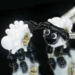 """Намистина Баранець Пандора """"Преміум"""", лемпворк, 17х22х17 мм, білий з чорним"""