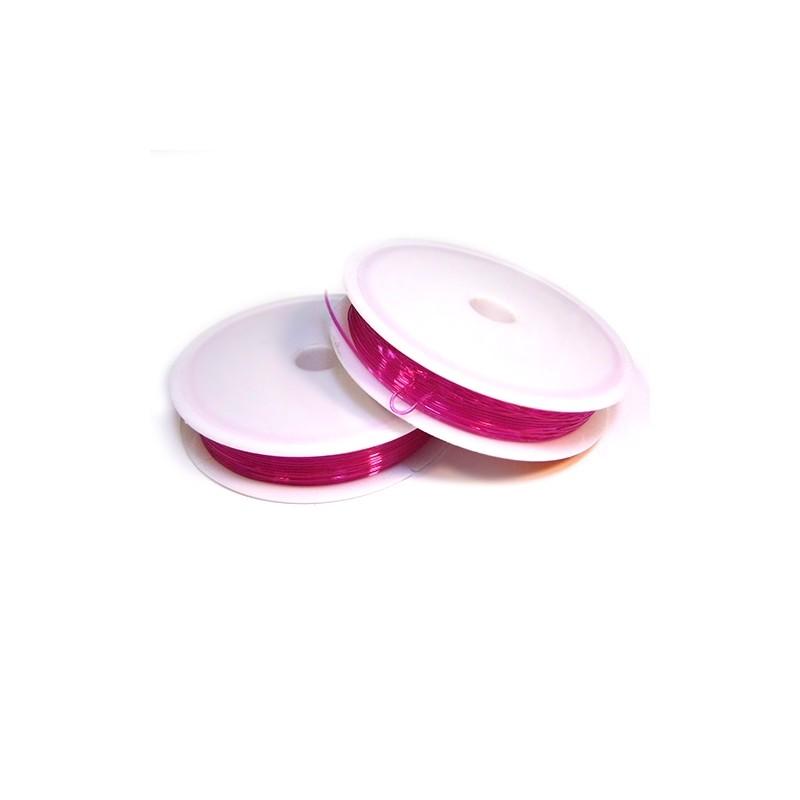 Силиконовая (эластомерная) нить, 0,8мм, малиновая, катушка 10м.