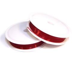 Силиконовая (эластомерная) нить, 0,8мм, красная, катушка 10м.