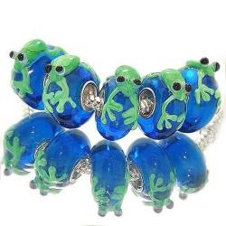 """Намистина з жабкою """"Преміум"""", лемпворк, 16х14х8 мм, синя з зеленим"""
