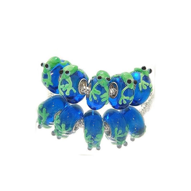 """Бусина с лягушкой Пандора """"Премиум"""", лэмпворк, 16х14х8 мм, синяя с зеленым"""