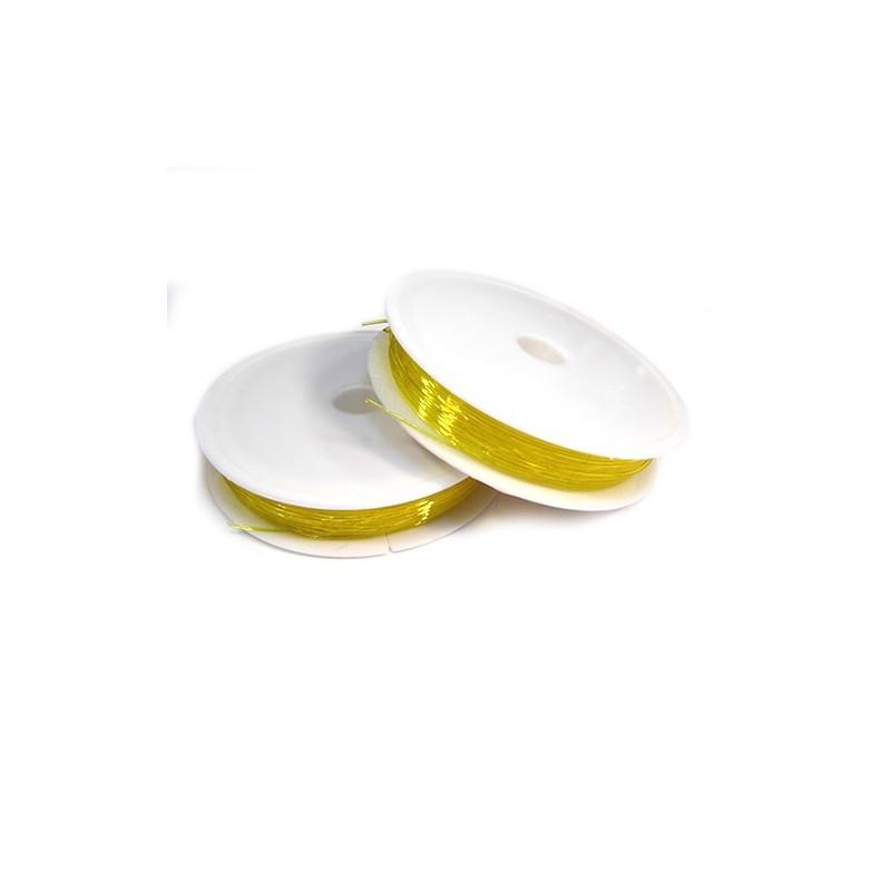 Силіконова (еластомірна) нитка, 0,8мм, жовта, котушка 10м.