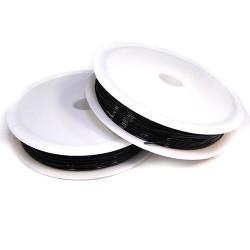 Силіконова (еластомірна) нитка, 0,7мм, чорна, котушка 12м.