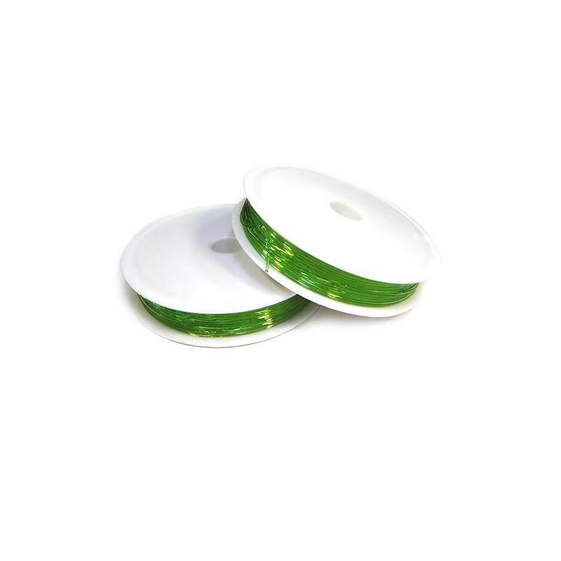 Силіконова (еластомірна) нитка, 0,8мм, зелена, котушка 10м.