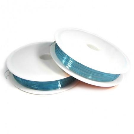 Силіконова (еластомірна) нитка, 0,8мм, блакитна, котушка 10м.