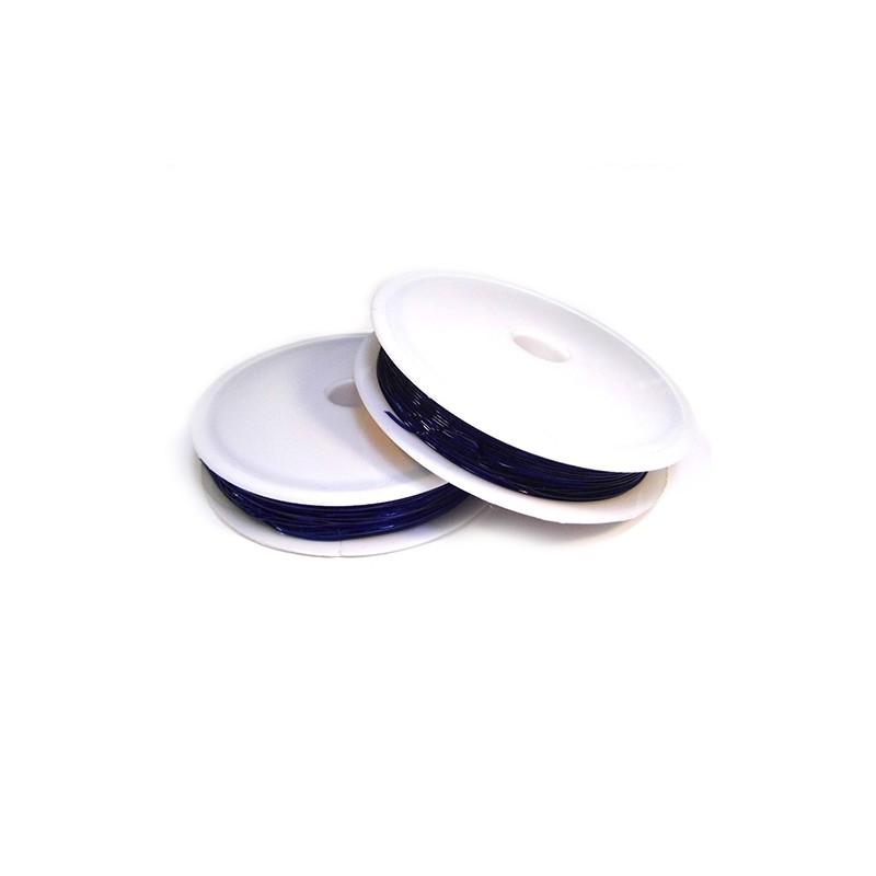 Силіконова (еластомірна) нитка, 0,8мм, темно-синя, котушка 10м.