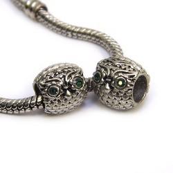 Бусины Совы, металлические со стразами, 9х10 мм, стальные с зелеными глазами