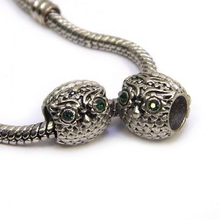Бусины Совы, металлические со стразами, 9х10 мм, стальные с изумрудными глазами