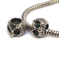Намистини Сови, металеві зі стразами, 8х10 мм, сталеві з зеленими очима
