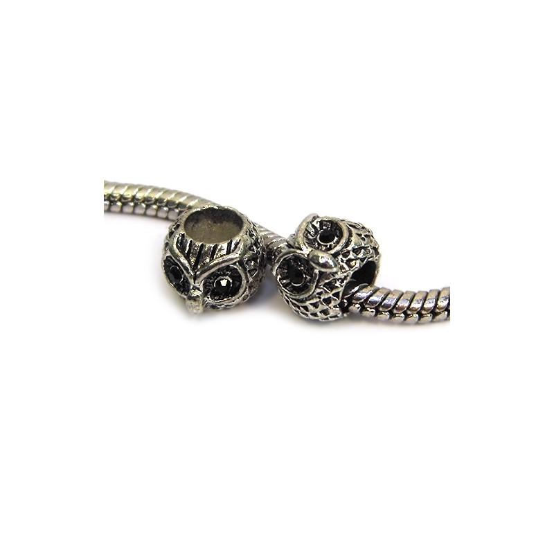 Намистини Сови, металеві зі стразами, 8х10 мм, сталеві з чорними очима