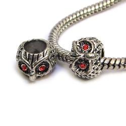 Намистини Сови, металеві зі стразами, 8х10 мм, сталеві з червоними очима