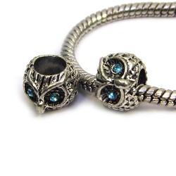 Намистини Сови, металеві зі стразами, 8х10 мм, сталеві з блакитними очима