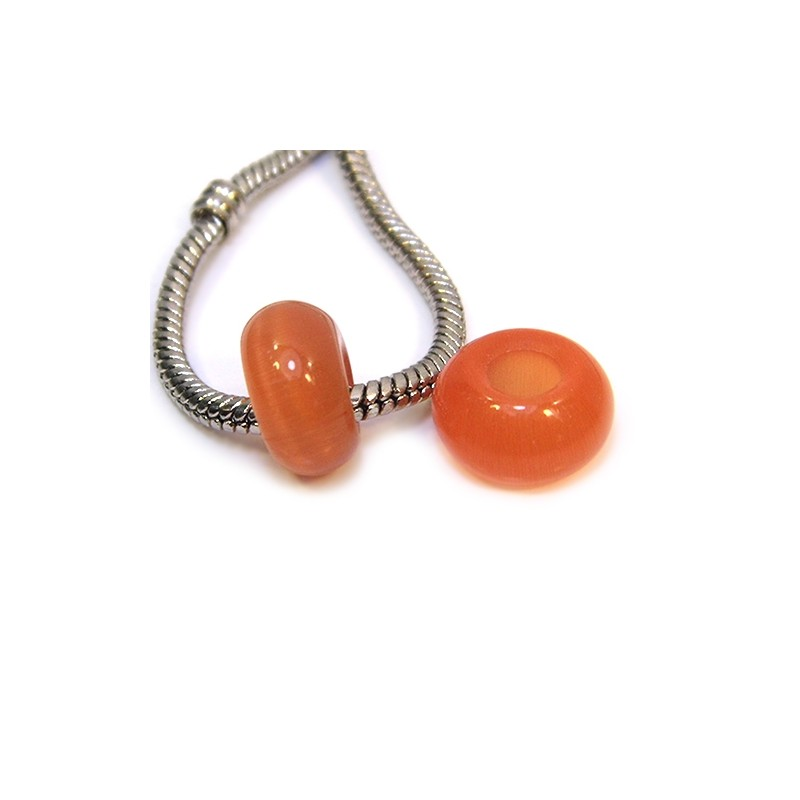 """Бусины Пандора """"Кошачий глаз"""", 14-8 мм, оранжевого цвета"""