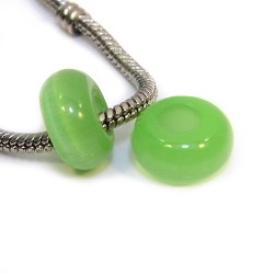 """Намистини Пандора """"Котяче око"""", 14-8 мм, світло-зеленого кольору."""