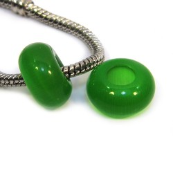 "Намистини Пандора ""Котяче око"", 14-8 мм, зеленого кольору."