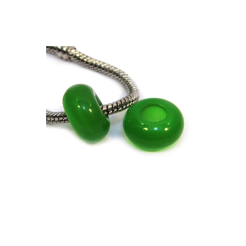 """Бусины Пандора """"Кошачий глаз"""", 14-8 мм, зеленого цвета"""