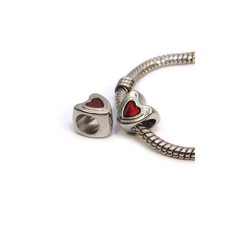 Бусина Пандора Сердечко эмалированная, 8-9 мм, металлическая с красным сердечком