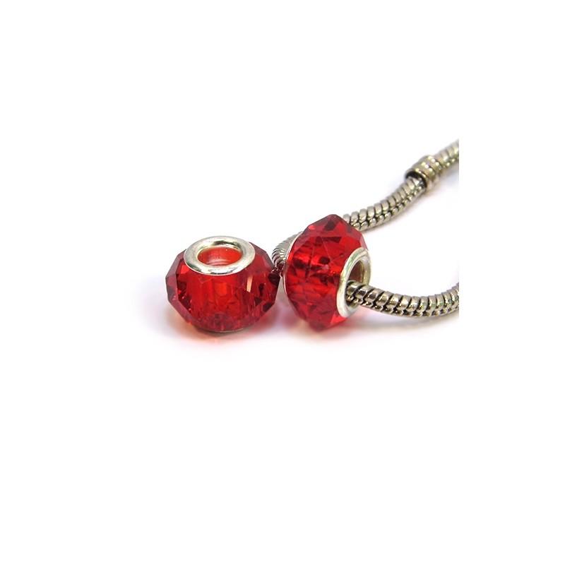 Бусины Пандора, хрустальные с огранкой, 8х14 мм, красные