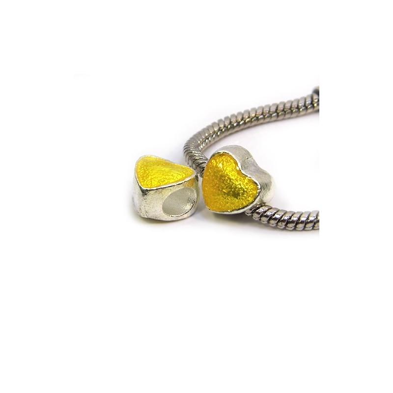 Намистина Пандора Серце емальована, 10-10 мм, металева з жовтою напівпрозорою емаллю